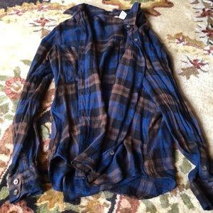 Brown and Blue Plaid Button Down